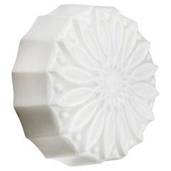 White Flower Opaline Milk Glass Vintage Industrial Scone Wall Lamp