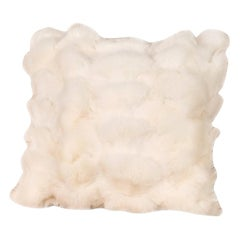 White Fox Fur Pillow with White Leather Back