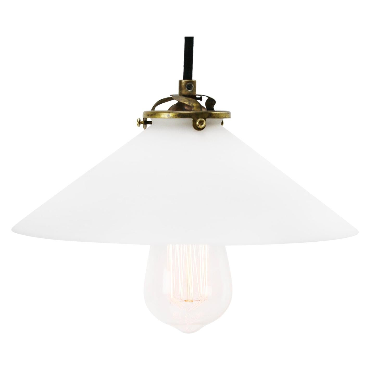 White French Mat Opaline Milk Glass Shade Brass Pendant Lights