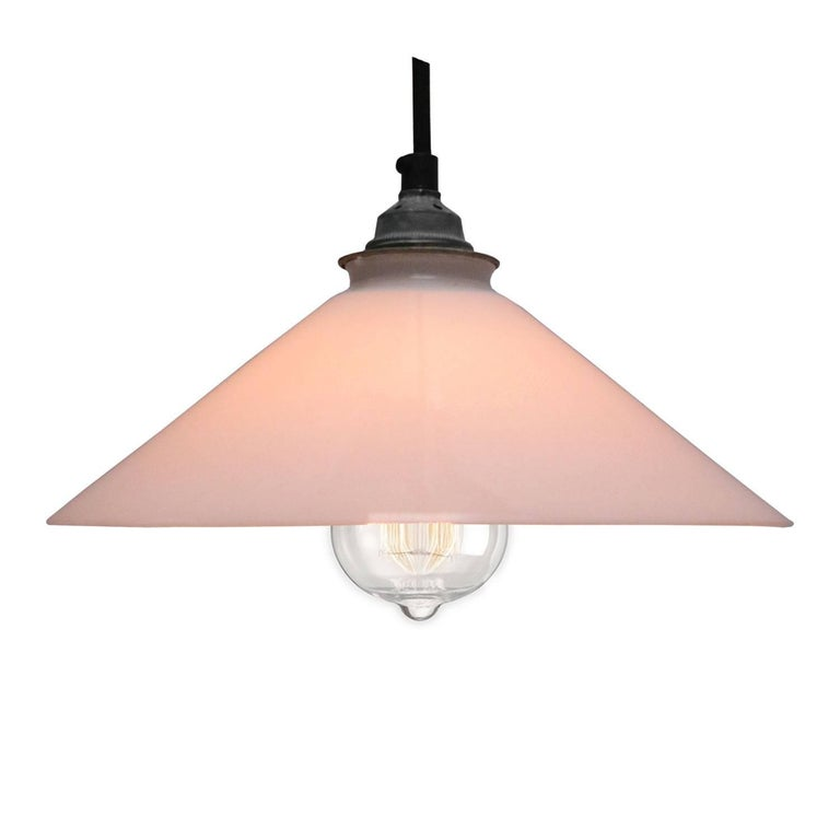 French opaline glass Industrial pendant. Excluding light bulb.  Measure: Weight 1.0 kg / 2.2 lb  All lamps have been made suitable by international standards for incandescent light bulbs, energy-efficient and LED bulbs. E26/E27 bulb holders and