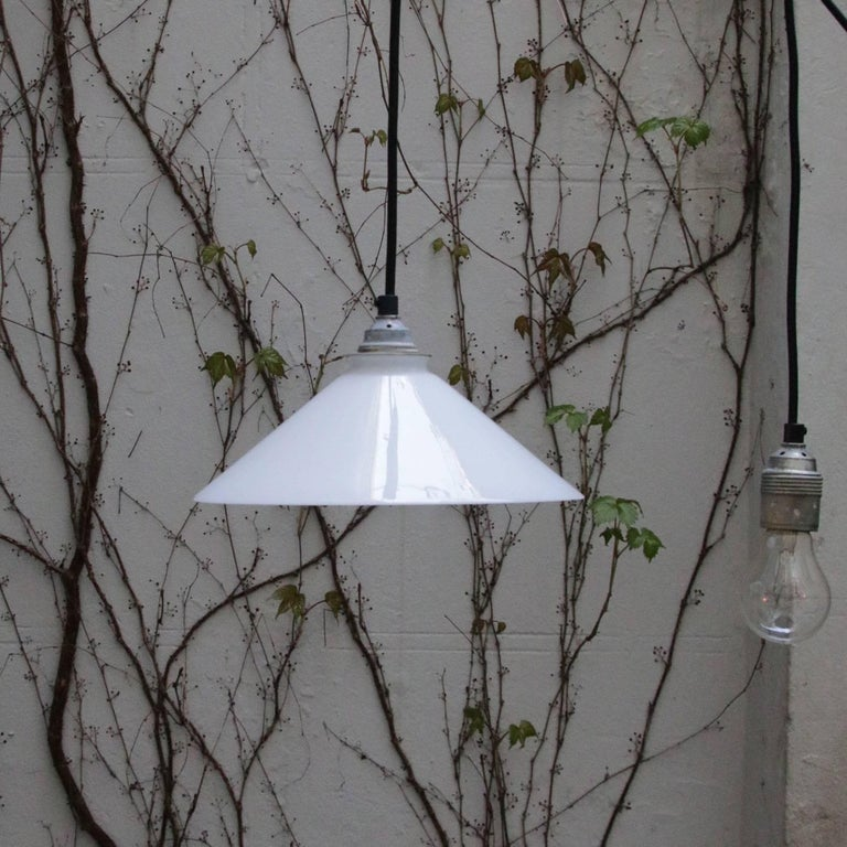 White French Opaline Glass Shade Pendants For Sale 1