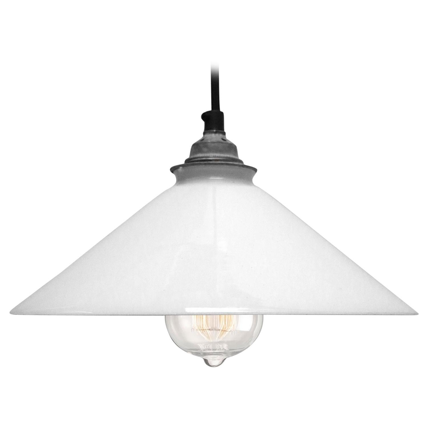 White French Opaline Glass Shade Pendants