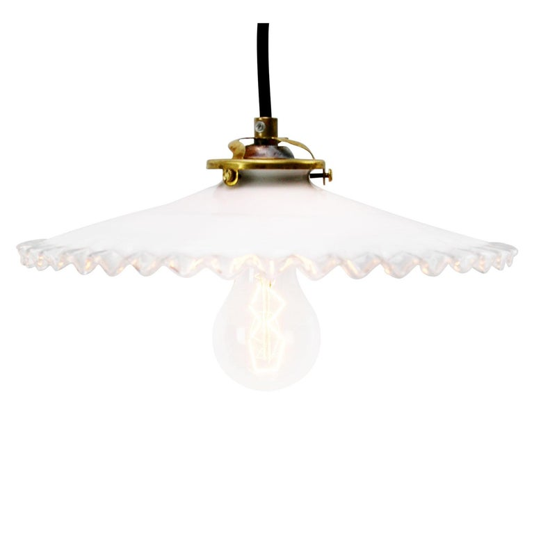 French opaline glass Industrial pendant. Excluding light bulb.  Weight 0.70 kg / 1.5 lb  Priced per individual item. All lamps have been made suitable by international standards for incandescent light bulbs, energy-efficient and LED bulbs.
