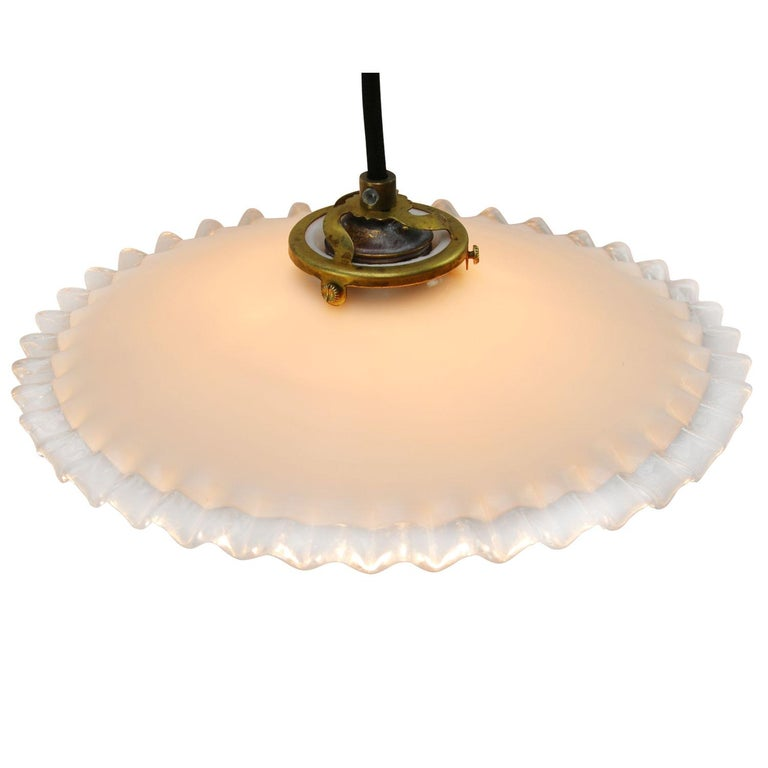 French opaline glass Industrial pendant.   Weight 0.70 kg / 1.5 lb  Priced per individual item. All lamps have been made suitable by international standards for incandescent light bulbs, energy-efficient and LED bulbs. E26/E27 bulb holders and new