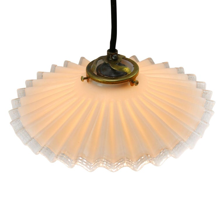 French opaline glass Industrial pendant.   Weight 0.70 kg / 1.5 lb  Priced per individual item. All lamps have been made suitable by international standards for incandescent light bulbs, energy-efficient and LED bulbs. E26/E27 bulb holders and