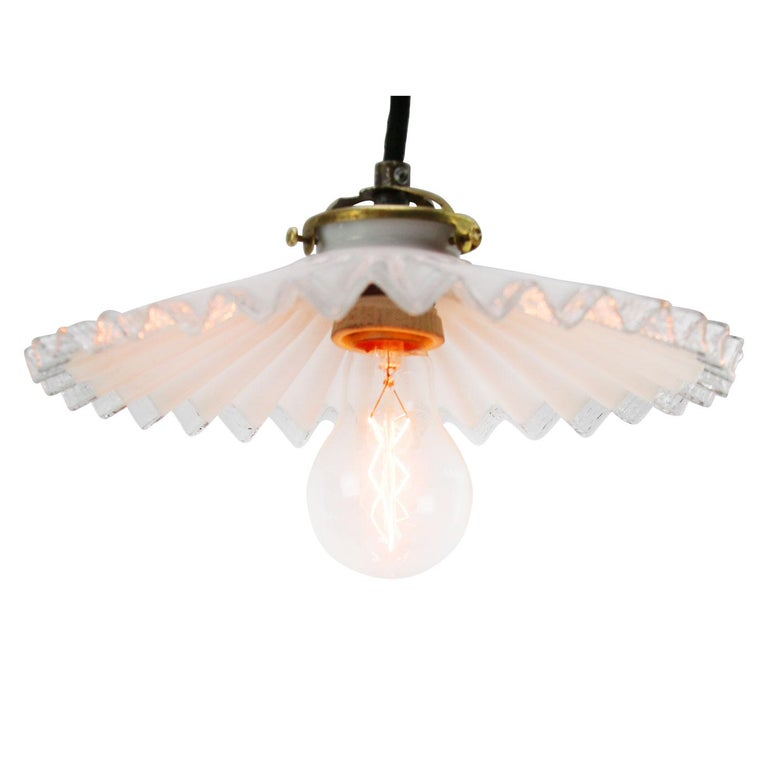 Industrial White French Opaline Milk Glass Shade Brass Pendant Light For Sale
