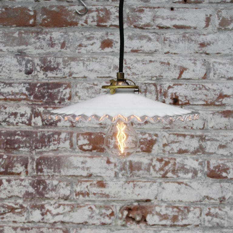 White French Opaline Milk Glass Shade Brass Pendant Lights In Good Condition For Sale In Amsterdam, NL