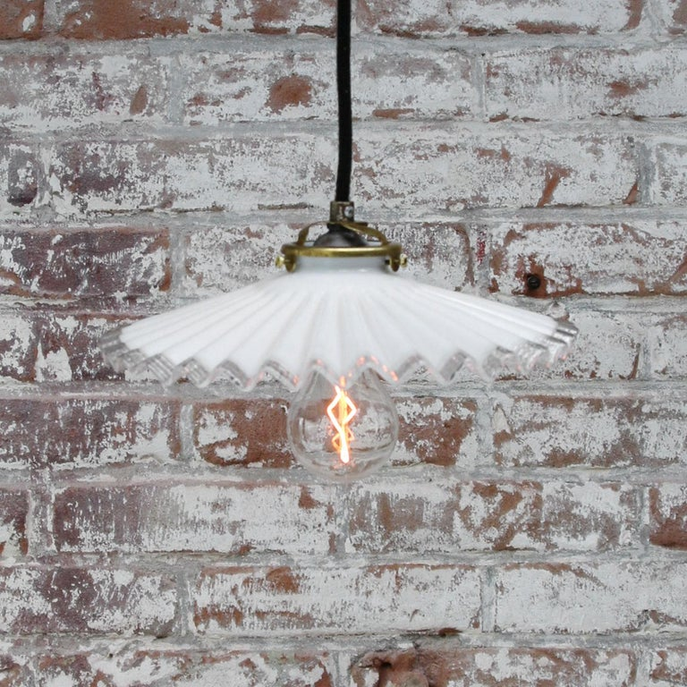 White French Opaline Milk Glass Shade Brass Pendant Light In Good Condition For Sale In Amsterdam, NL