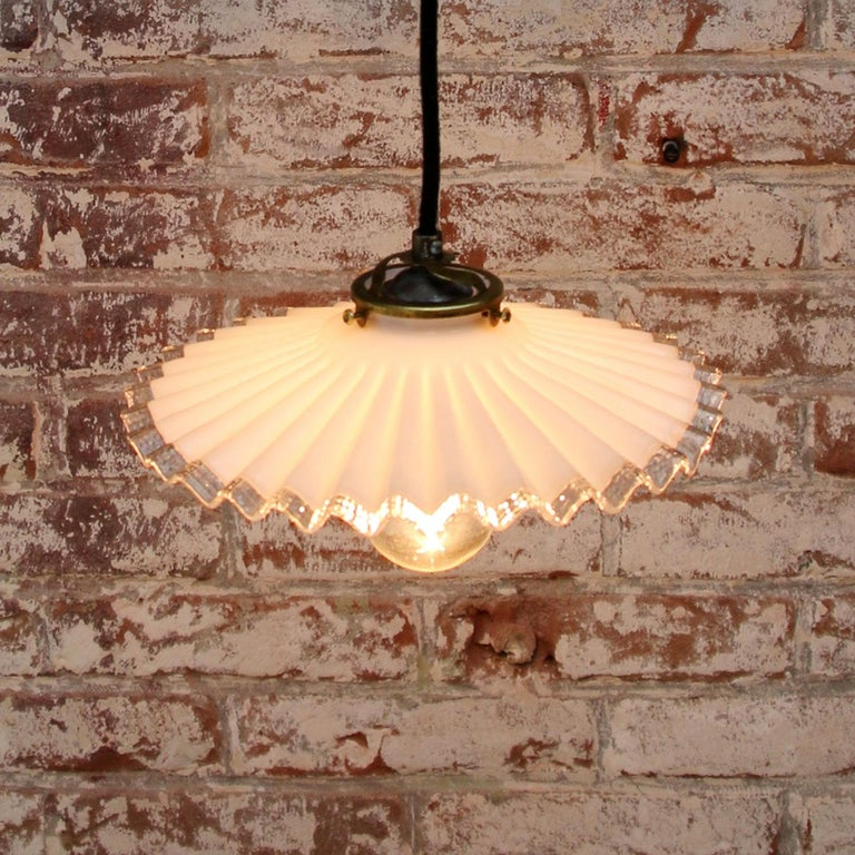 20th Century White French Opaline Milk Glass Shade Brass Pendant Light For Sale
