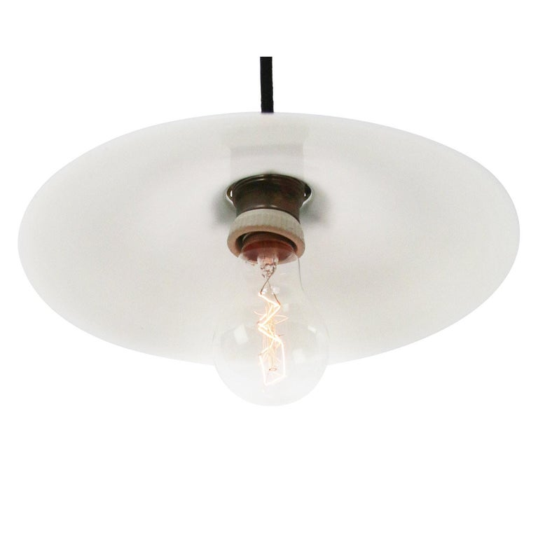 French opaline glass Industrial pendant.  Weight: 1.00 kg / 2.2 lb  Priced per individual item. All lamps have been made suitable by international standards for incandescent light bulbs, energy-efficient and LED bulbs. E26/E27 bulb holder. The