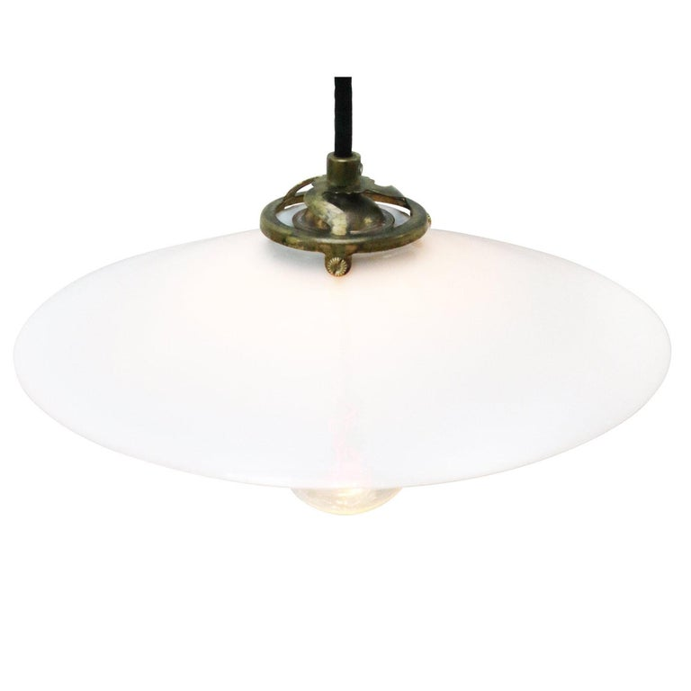 Industrial White French Opaline Milk Glass Shade Brass Pendant Lights For Sale