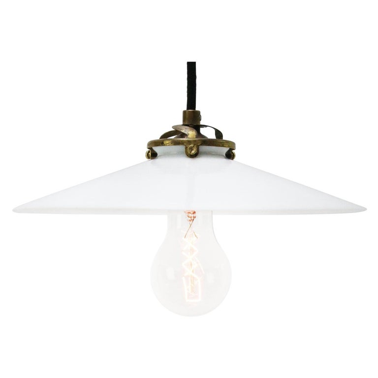 White French Opaline Milk Glass Shade Brass Pendant Lights For Sale