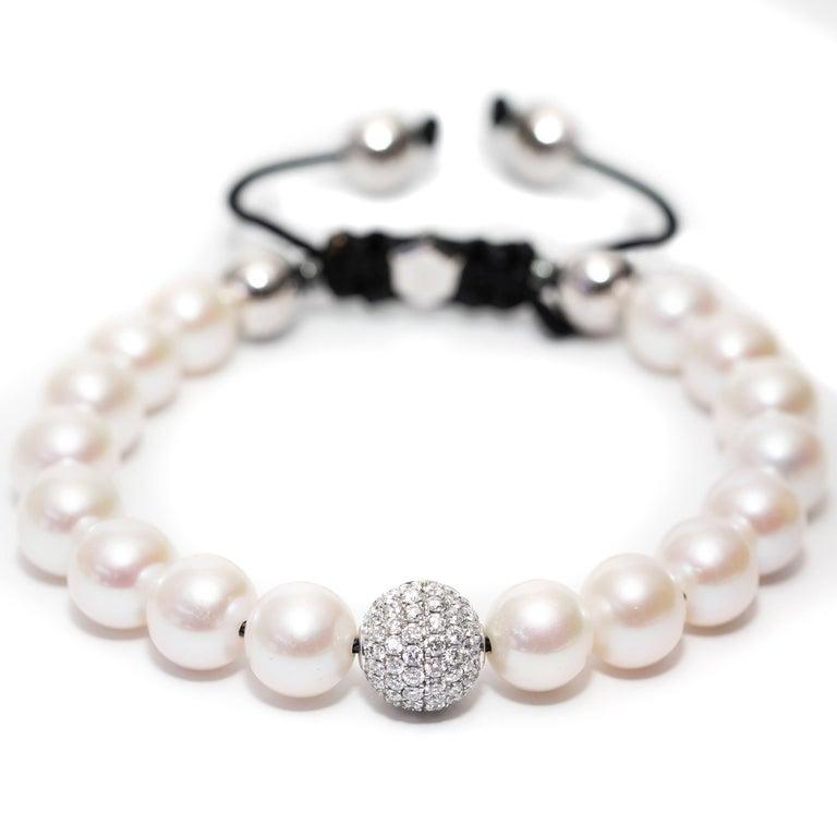 Modern White Fresh Water Pearl Pave Set 1.80 Carat Diamond 18Karat White Gold Bracelet  For Sale