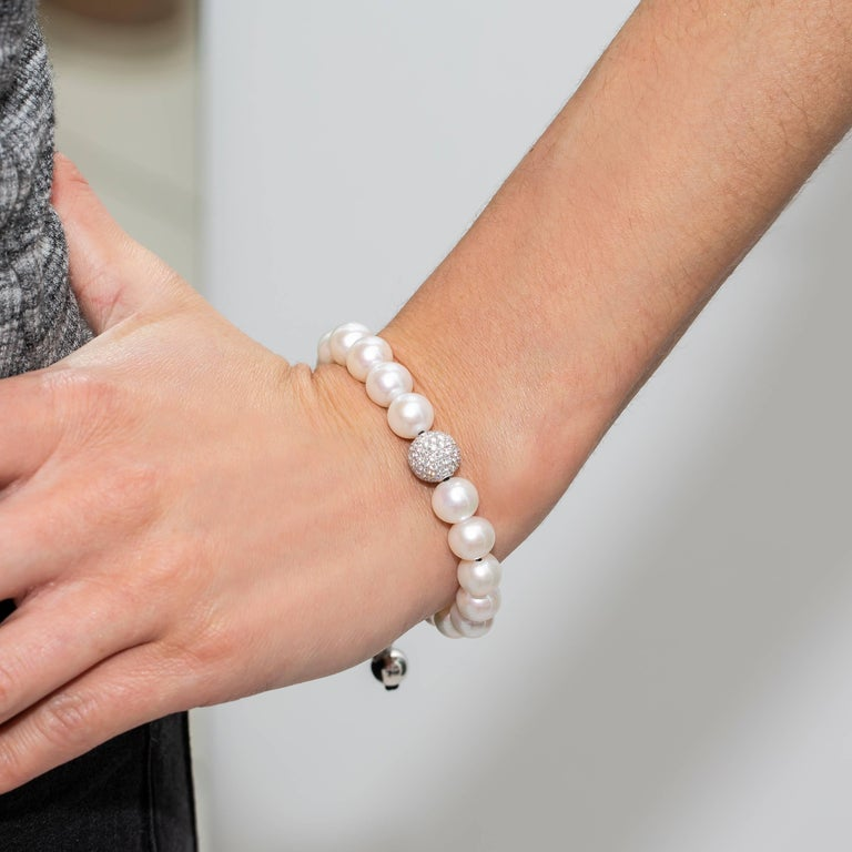 White Fresh Water Pearl Pave Set 1.80 Carat Diamond 18Karat White Gold Bracelet  For Sale 1