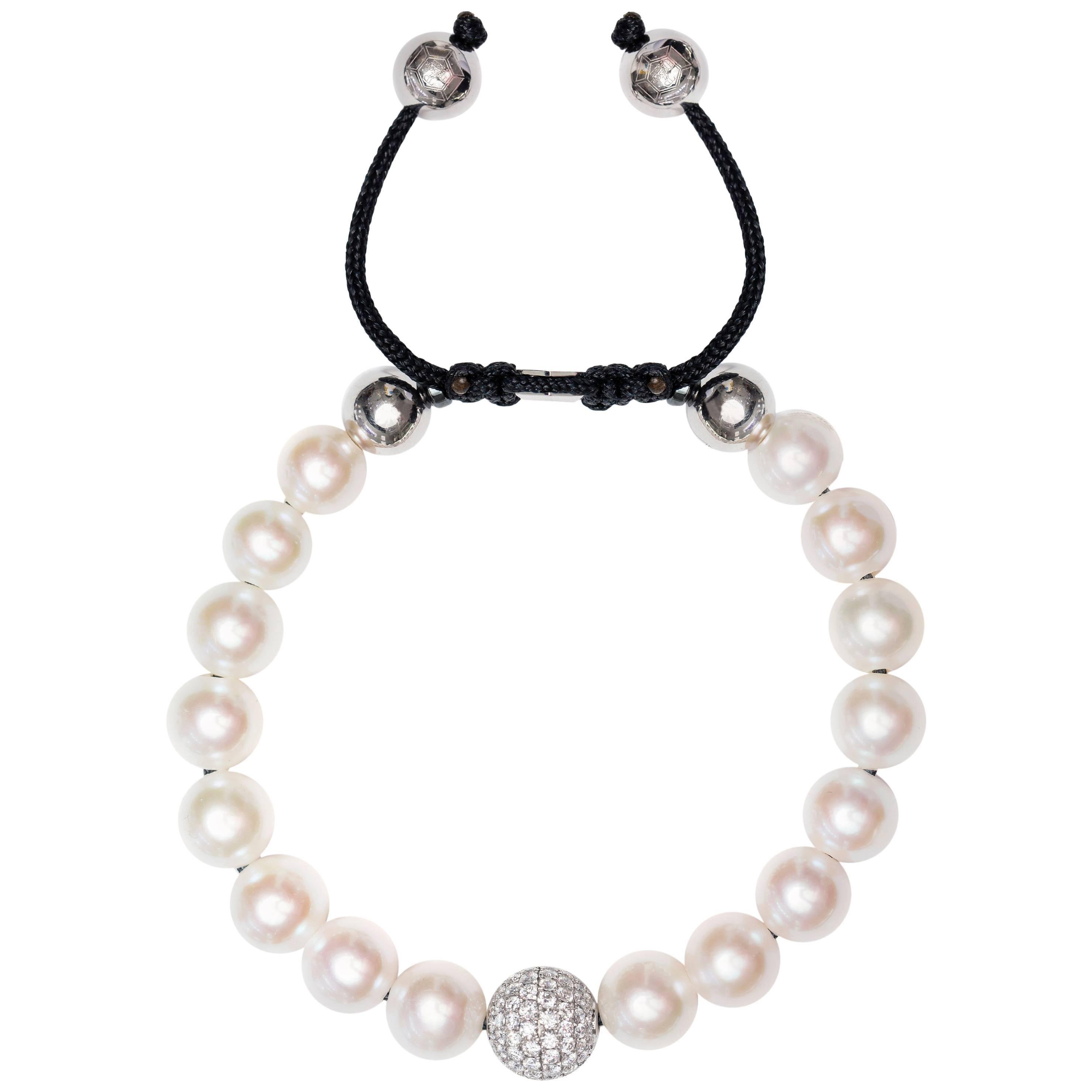 White Fresh Water Pearl Pave Set 1.80 Carat Diamond 18Karat White Gold Bracelet