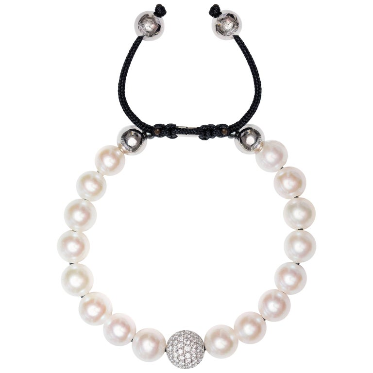 White Fresh Water Pearl Pave Set 1.80 Carat Diamond 18Karat White Gold Bracelet  For Sale