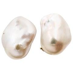 White Freshwater Cultured Baroque Pearl Earrings