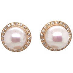 HARBOR D. White Freshwater Pearl Diamond Halo Stud Earrings 14K Gold 0.10 Carats