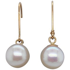 HARBOR D. White Freshwater Pearl Drop Earrings 14 Karat Yellow Gold
