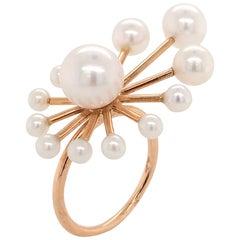 White Freshwater Pearls Rose Gold Ring 18 Karat Gold
