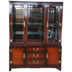 White Furniture Mahogany & Burl Mandarin Ming Chinoiserie China Display Cabinet