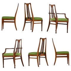 White Furniture Walnut High Back Cane Dining Chairs with New Nubby Green Fabric