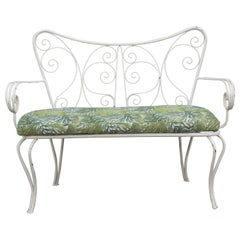 White Garden Sofa Mid-century Worked Shaped  Green Metal Cushion 1950s