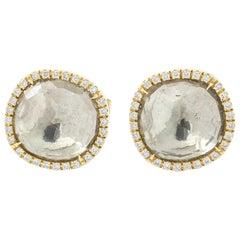White Gemstones Facet Diamond Yellow Gold Earrings
