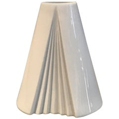 White Geometric Op Art Porcelain Vase, Ambrogio Pozzi, Rosenthal, Germany, 1980s