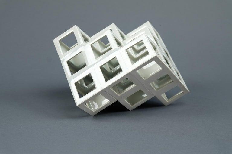 Minimalist White Geometrical Minimal Porcelain Sculpture For Sale