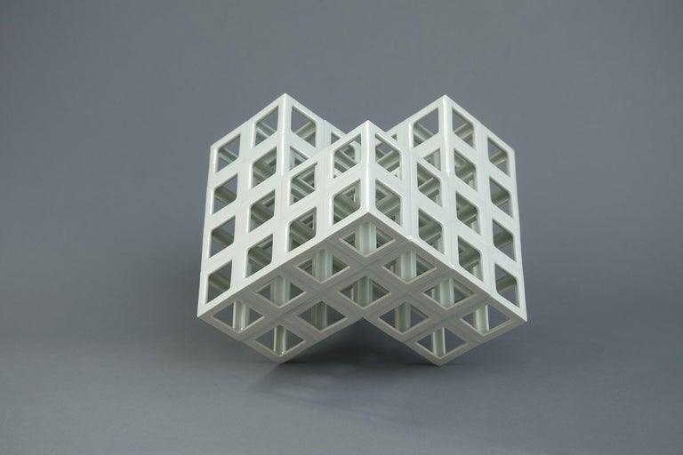 Japanese White Geometrical Minimal Porcelain Sculpture For Sale