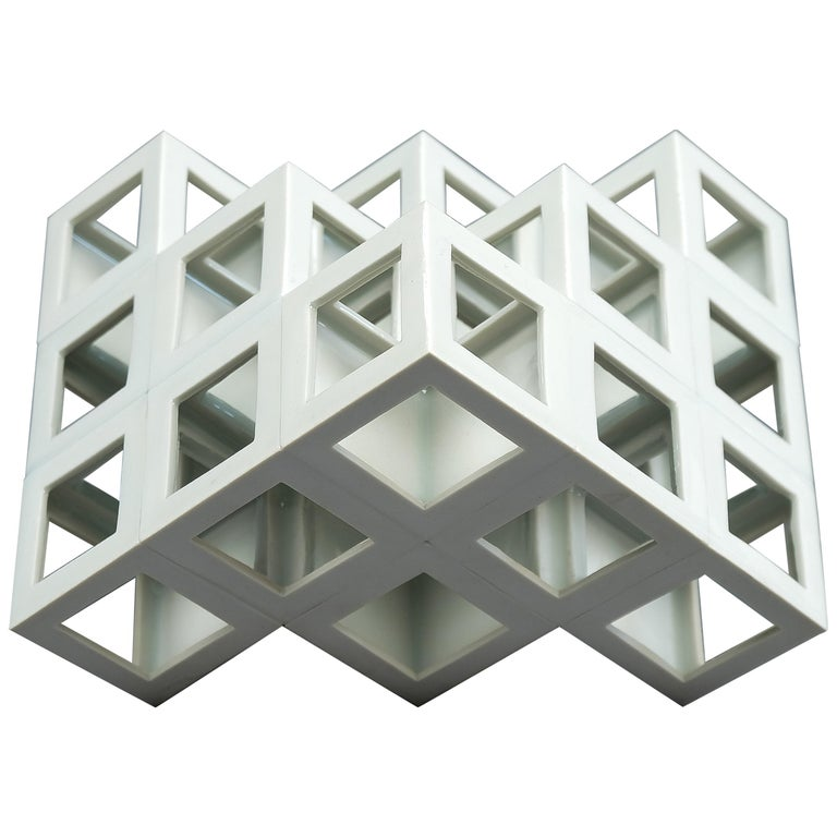 White Geometrical Minimal Porcelain Sculpture For Sale