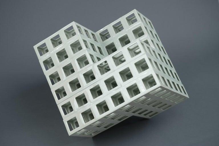 Minimalist White Minimal Geometric Shape Sculpture in Porcelain For Sale
