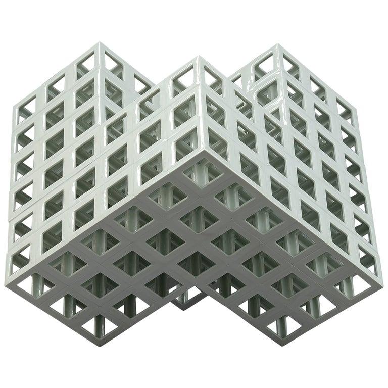 White Minimal Geometric Shape Sculpture in Porcelain For Sale