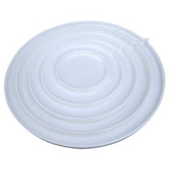 White Geometry Bone China Round Plates by Ann Van Hoey for Serax