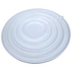 White Geometry Bone China Round Plates by Ann Van Hoey for Serax