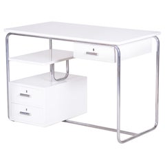 White German Bauhaus Chrome Plated Steel Writing Desk, Made in the 1930s