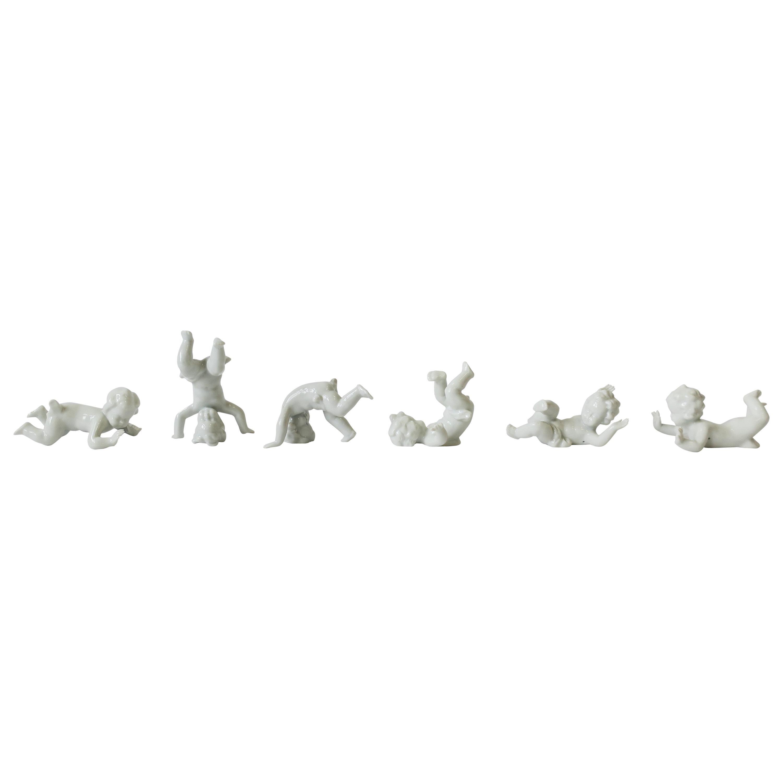 German White Porcelain Nude Putti Sculptures, Set of 6