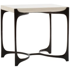 White Gesso Nella Side Table with Dark Bronze Base by Elan Atelier