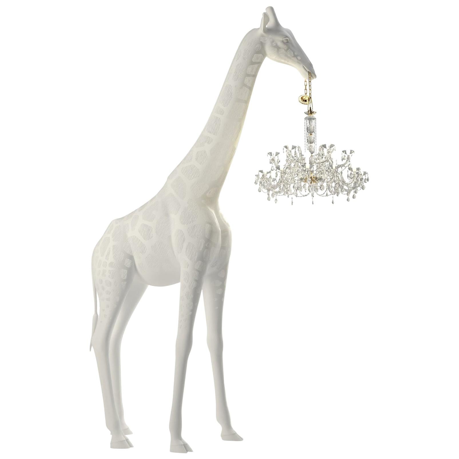 In Stock in Los Angeles, 8.6 Feet Pop Art White Indoor Giraffe with Chandelier
