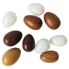 White Glass and Brown Blonde Wood Bird Eggs, Set of 10