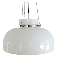White Glass and Chrome Pendant Lamp by Herbert Proft for Glashütte Limburg