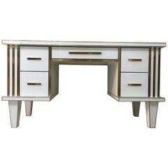 White Glass and Mirrored Desk with Brass, Commode Vanity, Chest of Drawers