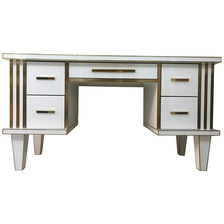 White Glass and Mirrored Desk with Brass, Commode Vanity, Chest of Drawers For Sale