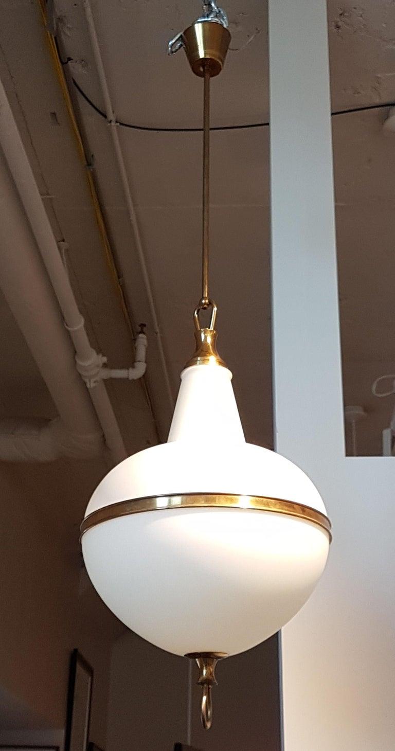 Italian White Glass and Brass Mid-Century Modern Lantern, Stilnovo Style, 1960s For Sale