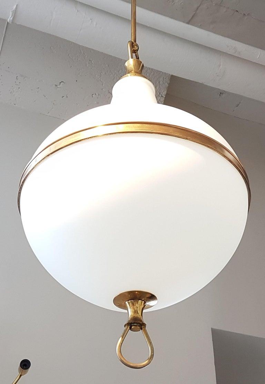 White Glass and Brass Mid-Century Modern Lantern, Stilnovo Style, 1960s In Good Condition For Sale In Dallas, TX