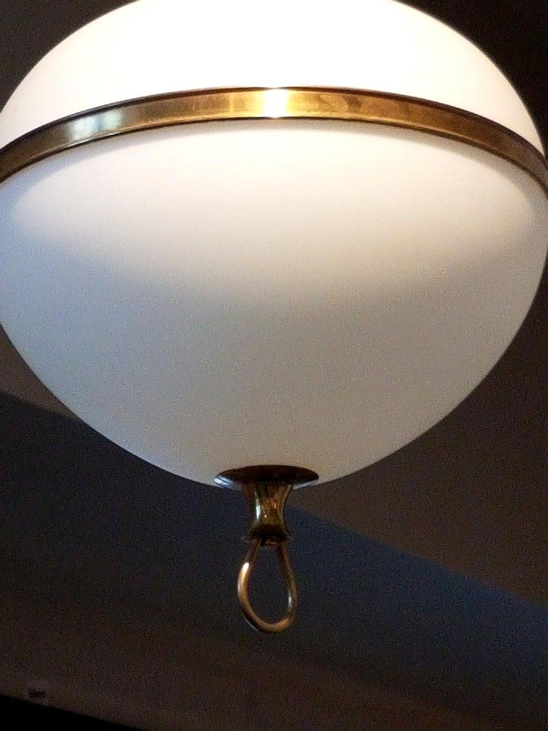 White Glass and Brass Mid-Century Modern Lantern, Stilnovo Style, 1960s For Sale 1