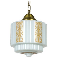 White Glass Cylinder Deco Pendant with Painted Details