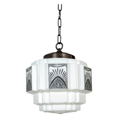 White Glass Deco Pendant with Black Painted Radial Motif