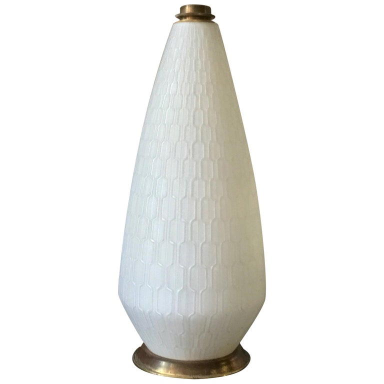 White Glass and Brass Lamp with Three-Way Switch, Mid-20th Century European For Sale 6